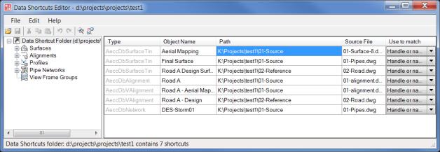 Data Shortcut Editor